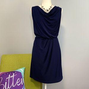 Jessica Simpson Navy Blue Draped Cowl Neck Dress